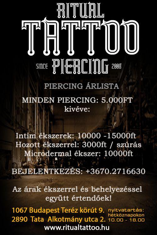 Ritual Tattoo & Piercing, Piercing árlista és Rendelési napok
